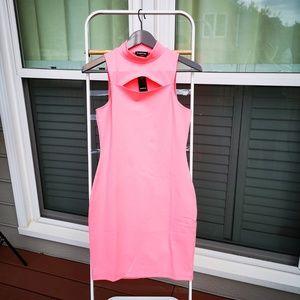 bebe Dresses - bebe Women's Sexy Bodycon Front Cutout Knit Dress